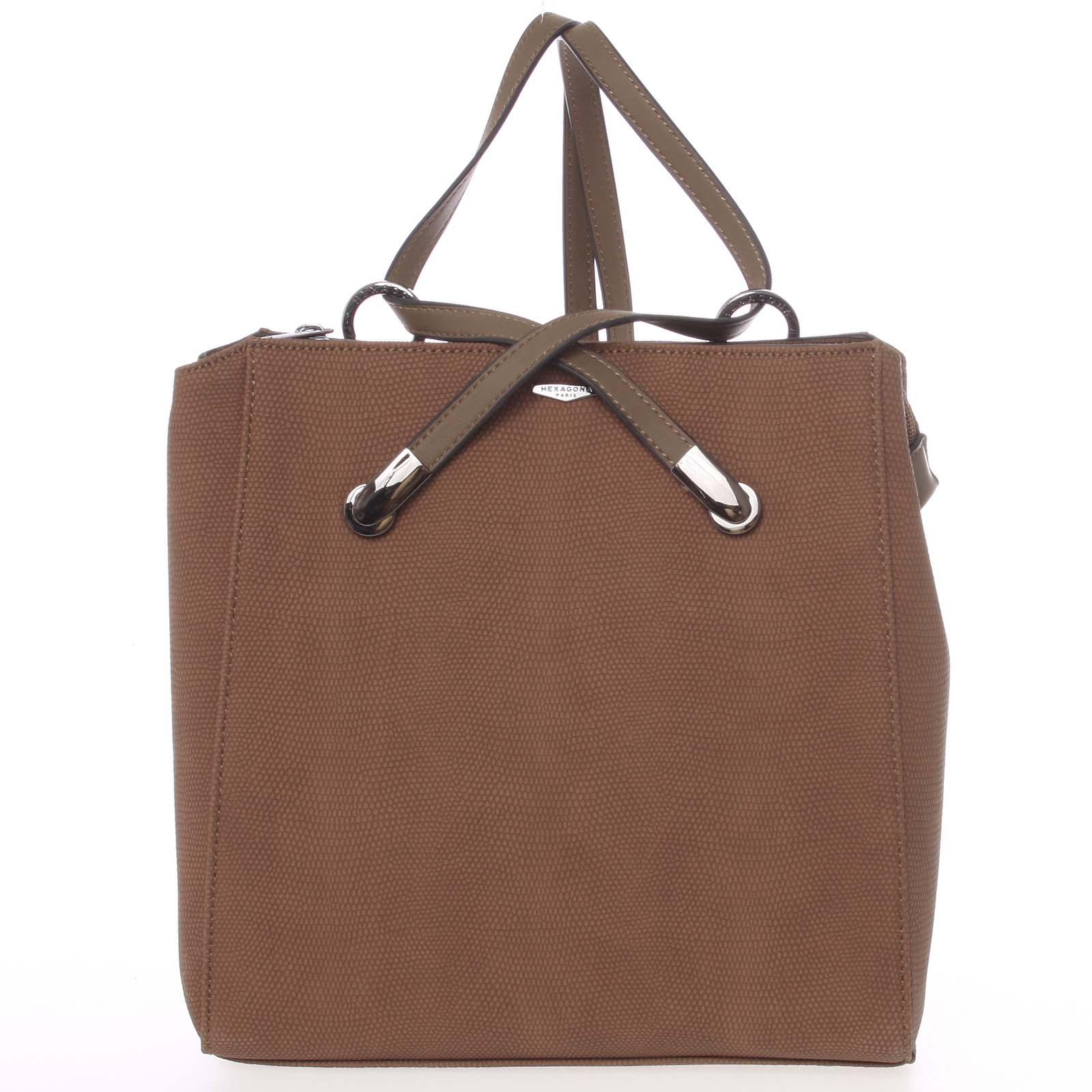 Elegantní strukturovaný hnědý batůžek/kabelka - Hexagona Bure