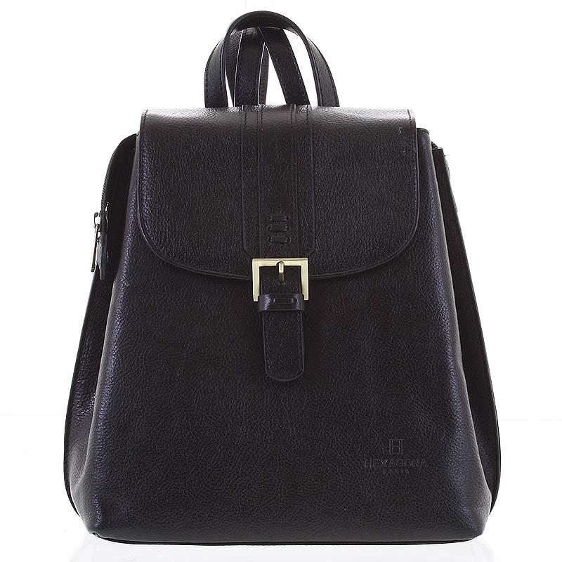 Kožený dámský moderní batoh černý - Hexagona Zosimos