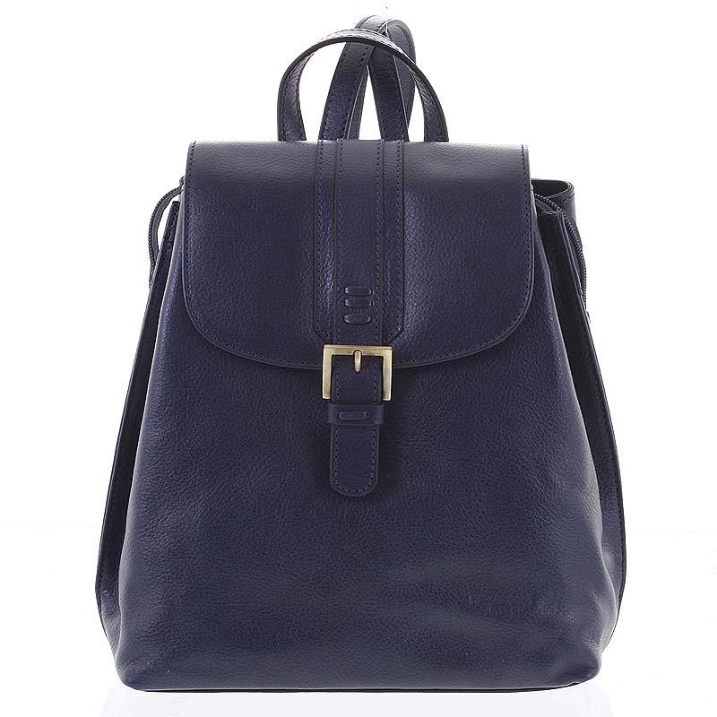 Kožený dámský moderní batoh tmavě modrý - Hexagona Zosimos