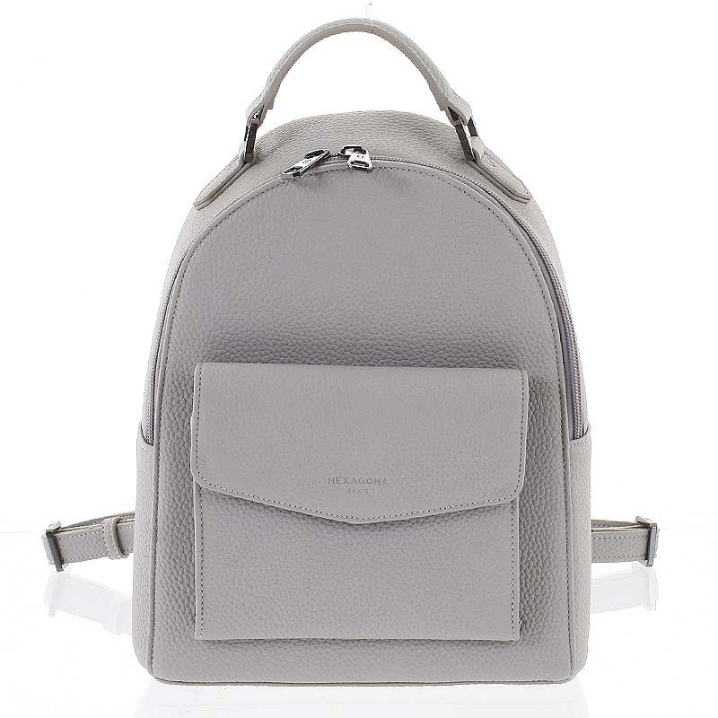 Strukturovaný stylový dámský batůžek světle šedý - Hexagona Zorba