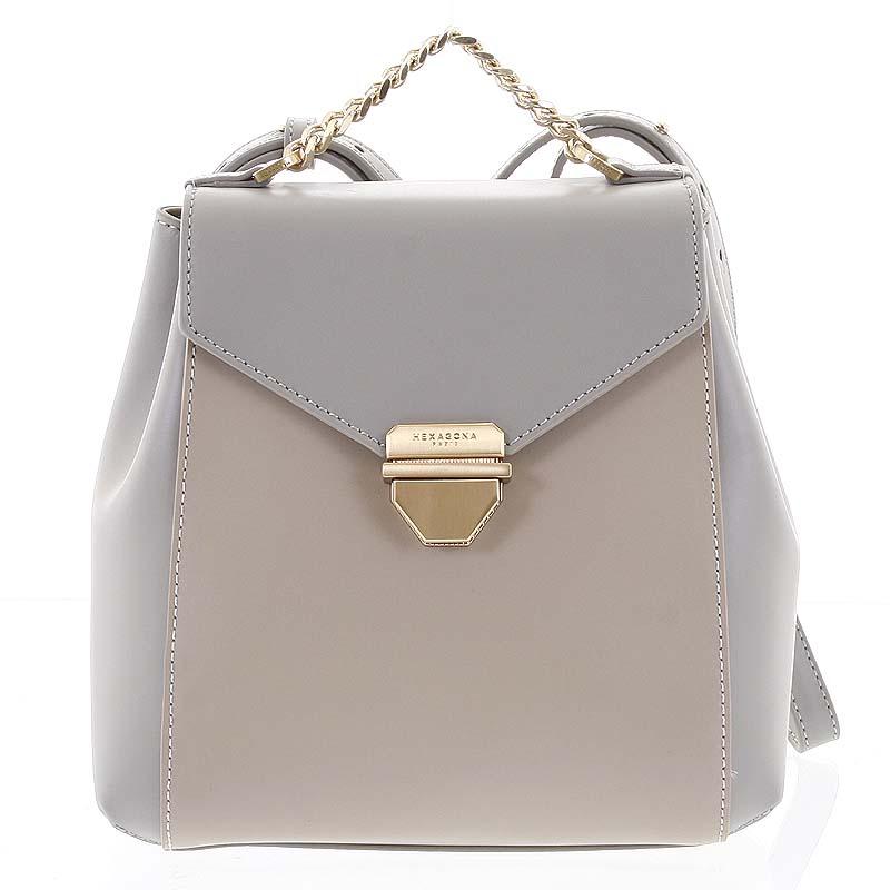 Malý luxusní kožený šedo pískový batůžek/kabelka - Hexagona Zondra