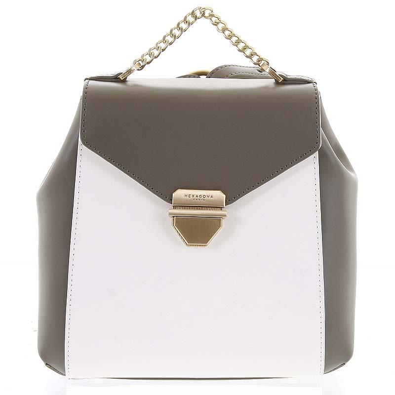Malý luxusní kožený olivovo bílý batůžek/kabelka - Hexagona Zondra