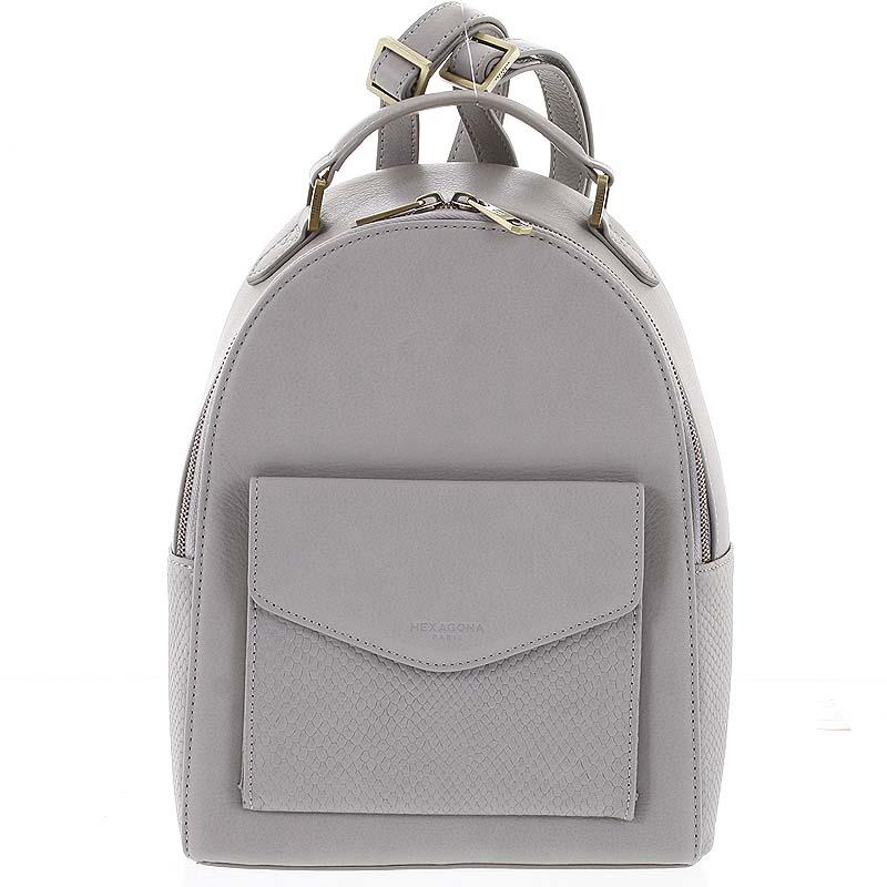 Luxusní stylový kožený dámský světle šedý batoh - Hexagona Zoilo
