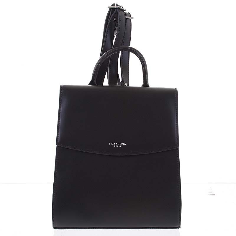 Dámský pevný moderní kožený batoh černý - Hexagona Zoelane