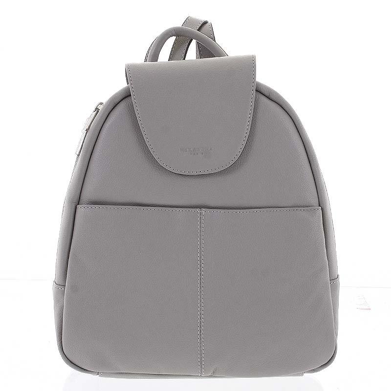 Měkký dámský kožený světle šedý batoh do města - Hexagona Zinovia