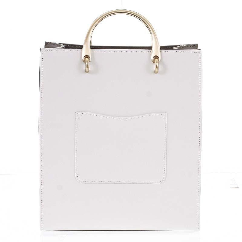 Luxusní dámská kožená bílo olivová kabelka do ruky - Hexagona Zenia