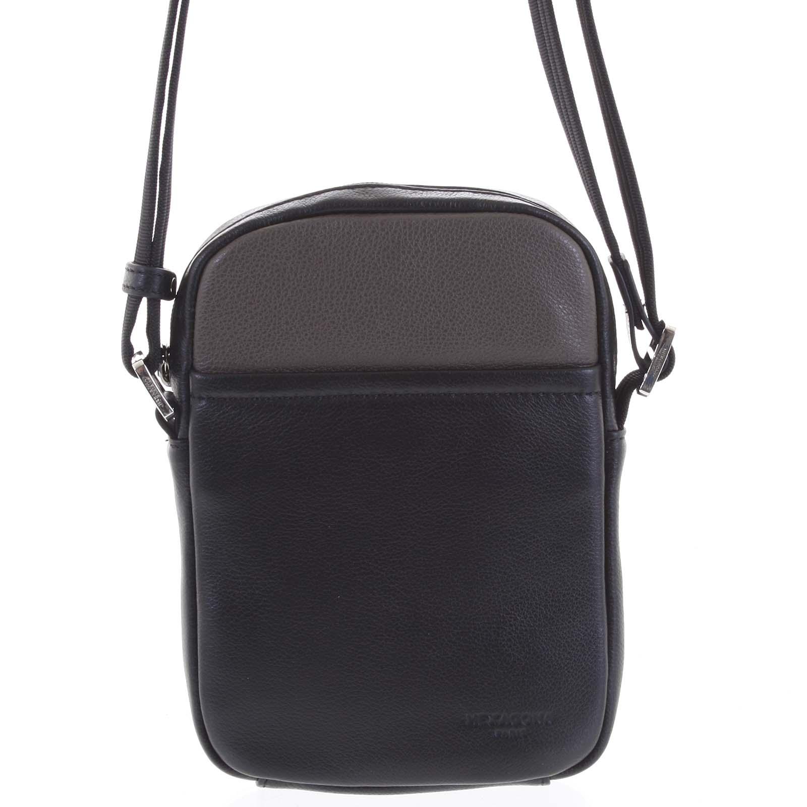 Pánská kožená taška na doklady taupe - Hexagona Yesterday