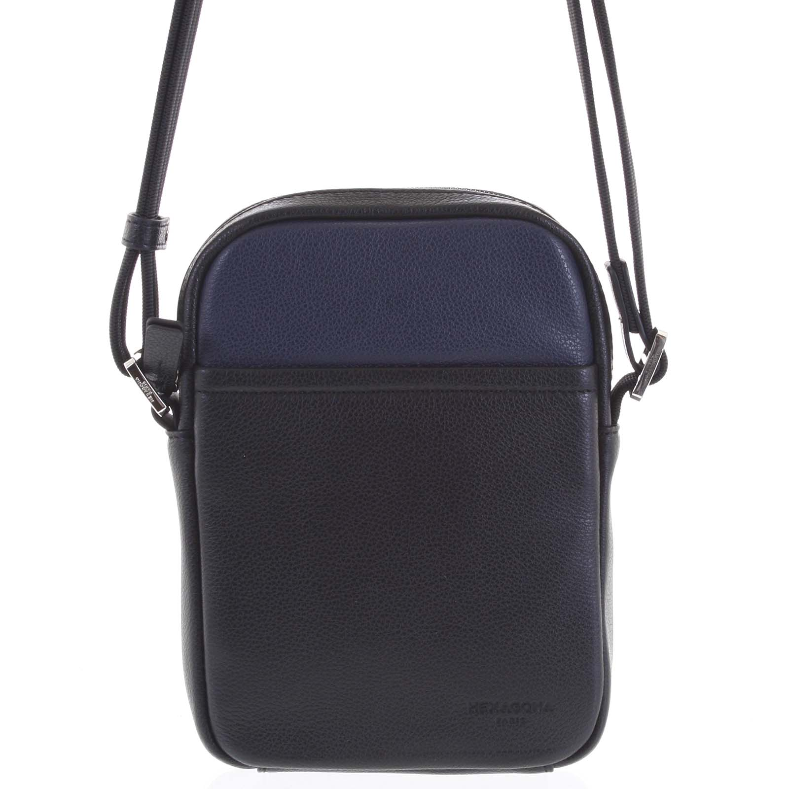 Pánská kožená taška na doklady modrá - Hexagona Yesterday