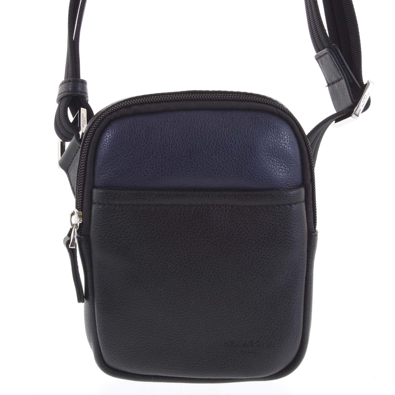 Pánská kožená taška na doklady černo modrá - Hexagona Monday