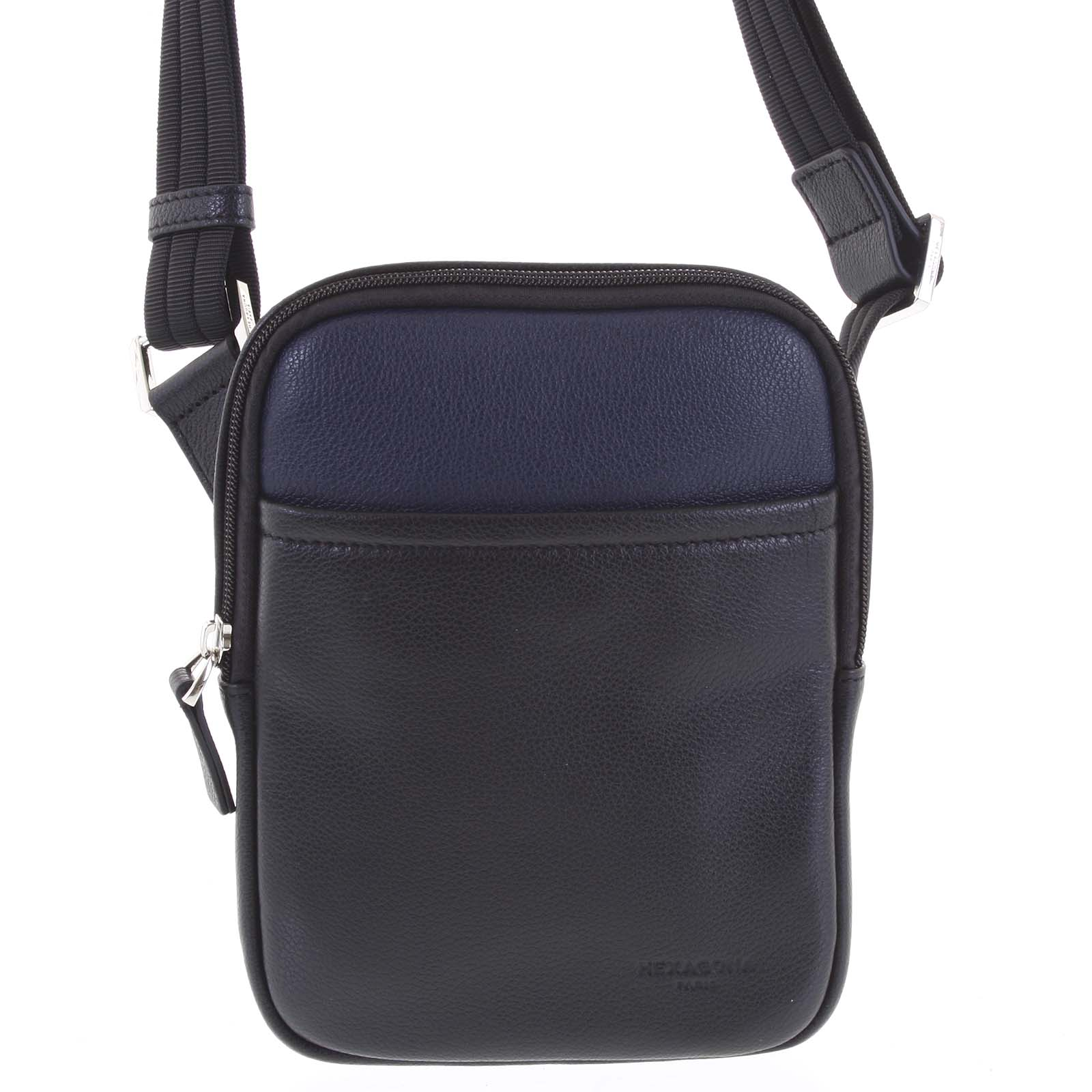 Pánská kožená taška na doklady černo modrá - Hexagona Tuesday