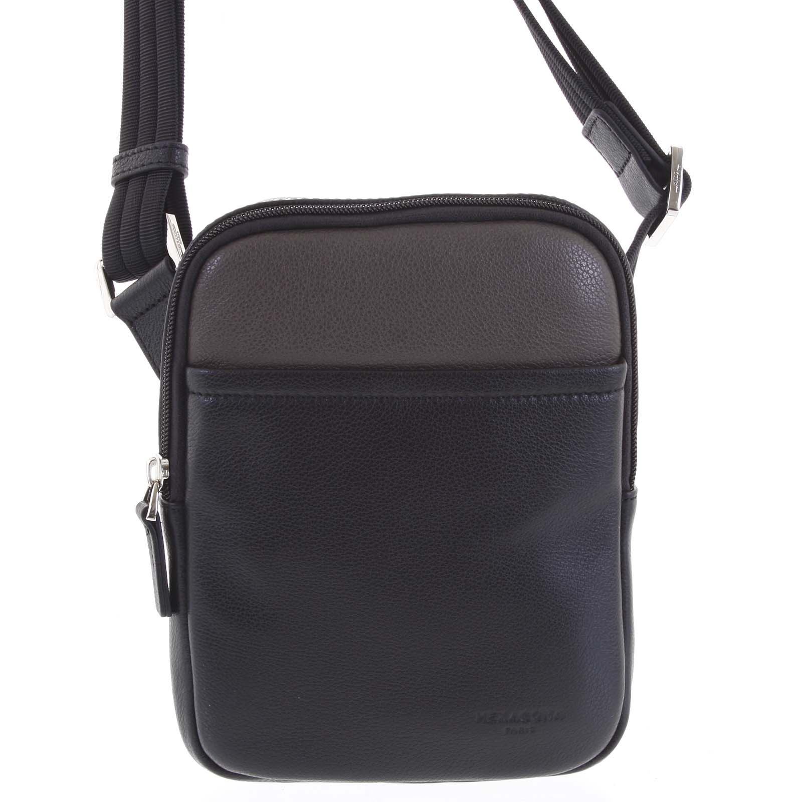 Pánská kožená taška na doklady černá taupe - Hexagona Tuesday