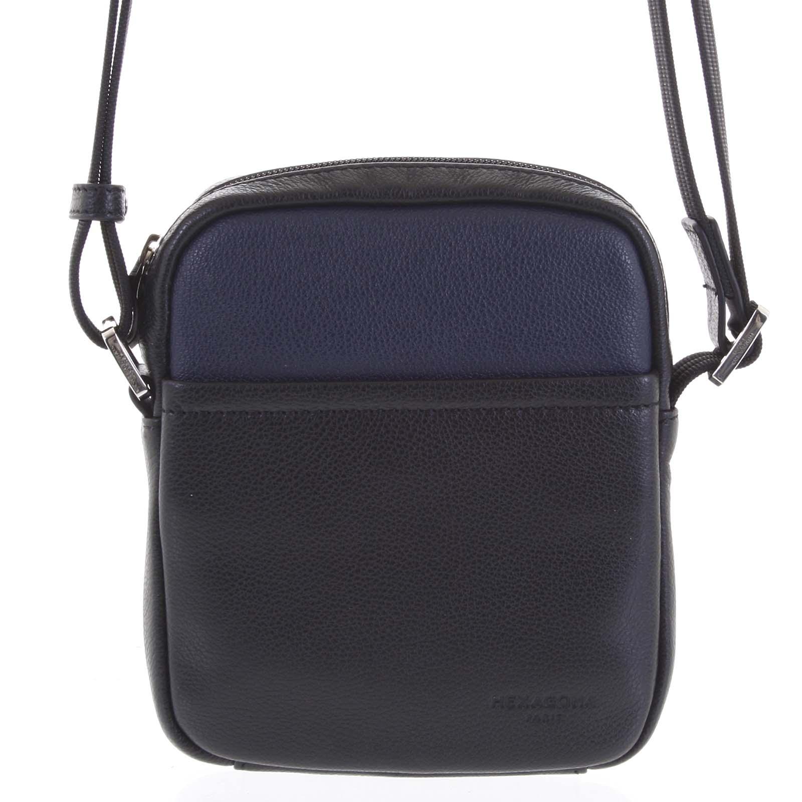 Pánská kožená taška na doklady černo modrá - Hexagona Wednesday