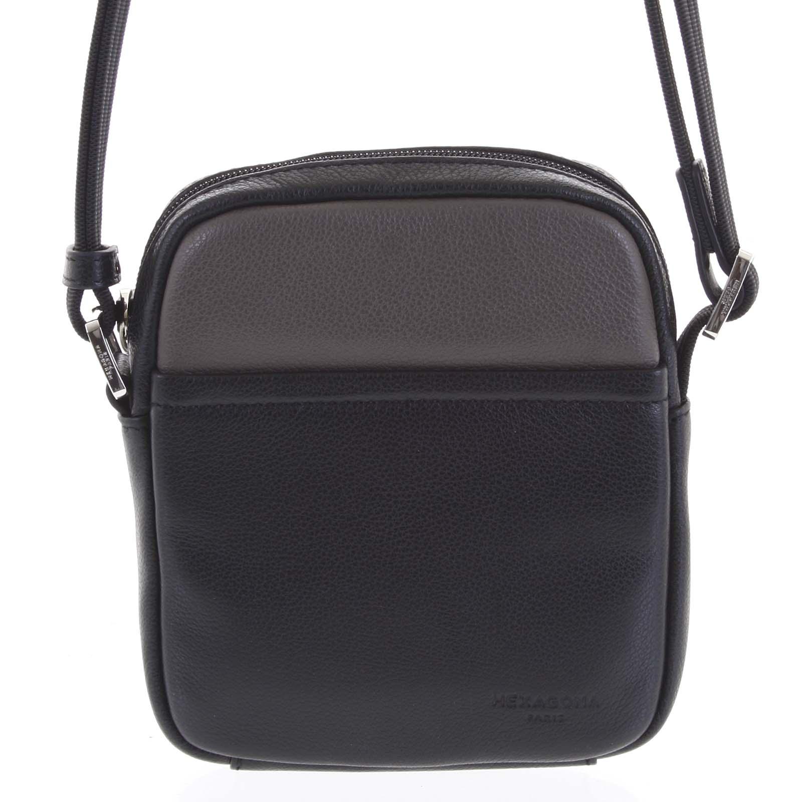 Pánská kožená taška na doklady černá taupe - Hexagona Wednesday