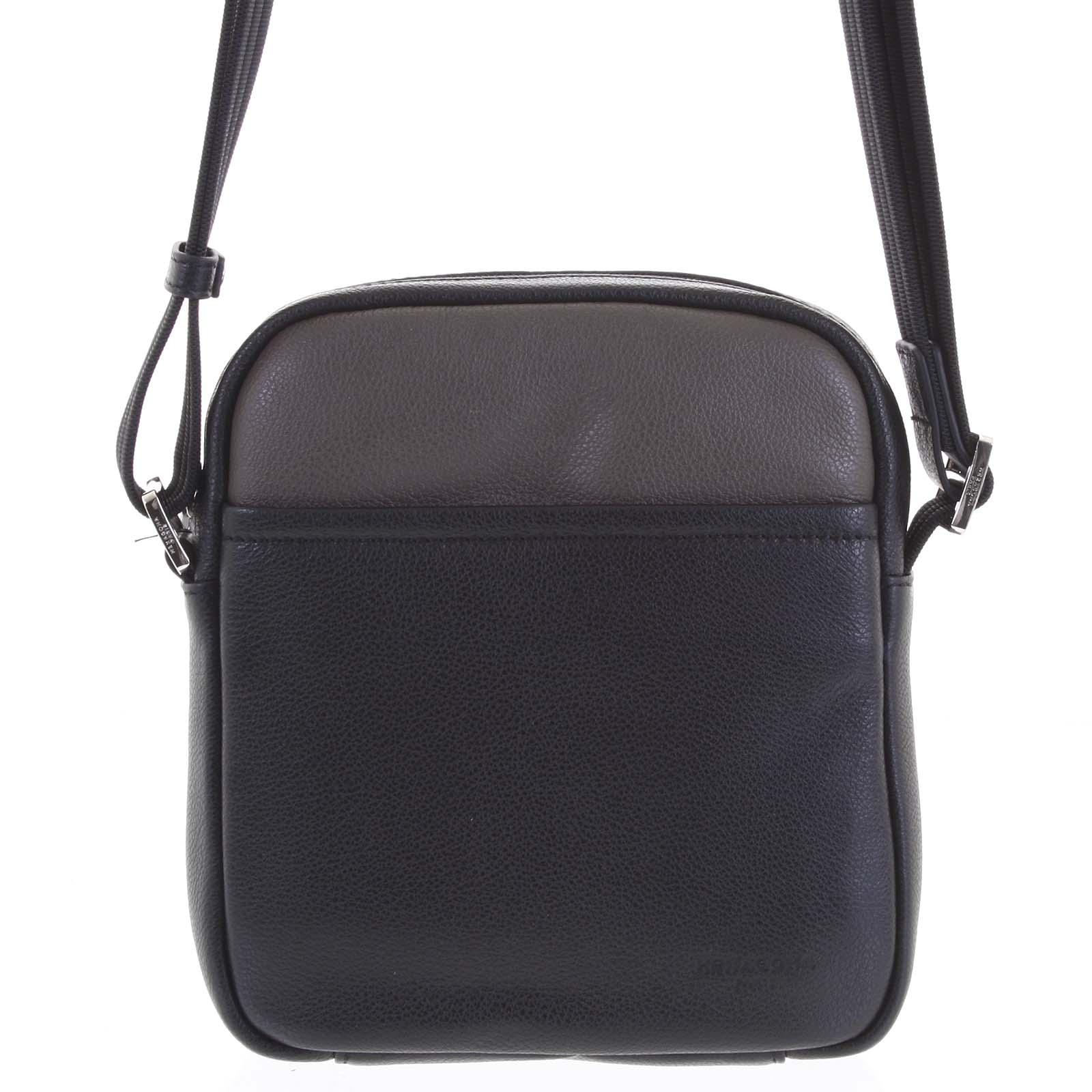 Pánská kožená taška na doklady černá taupe - Hexagona Thursday