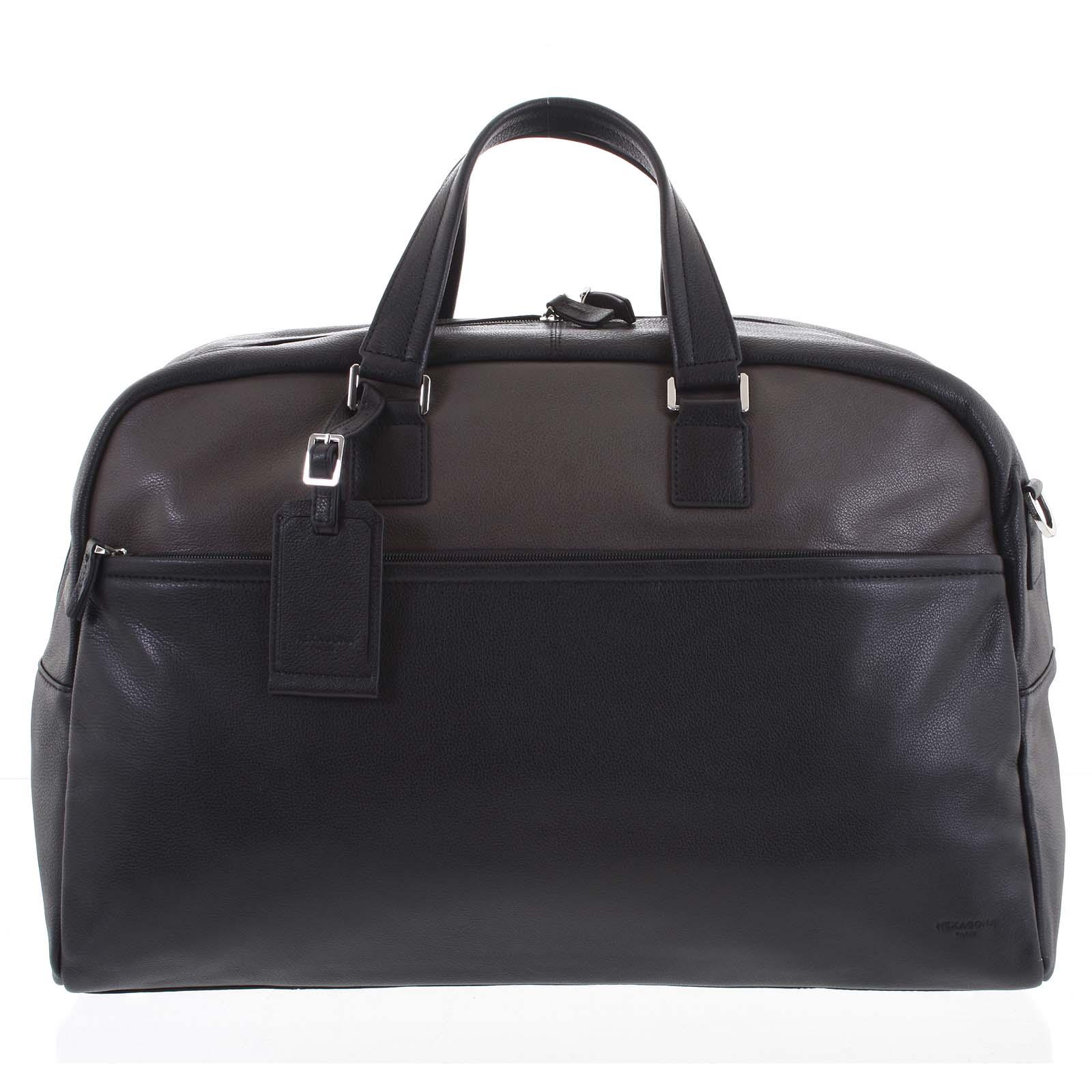 Cestovní kožená taška černá taupe - Hexagona Everyday
