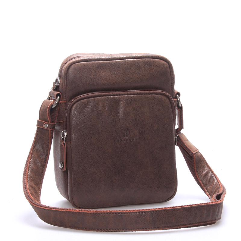 Luxusní pánská kožená taška přes rameno hnědá - Hexagona Carlos