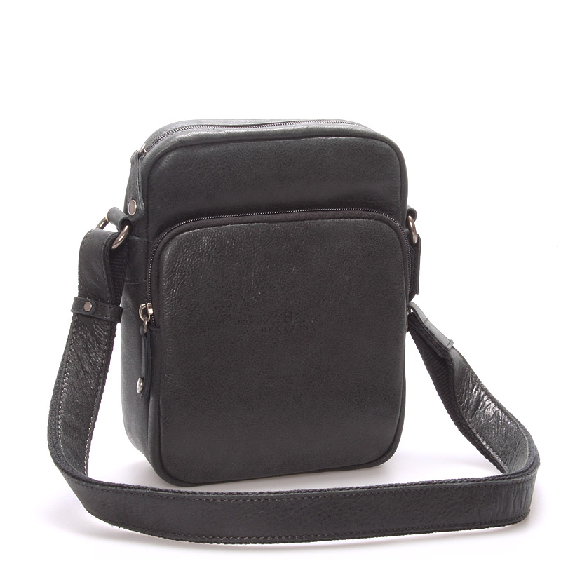 Luxusní pánská kožená taška přes rameno černá - Hexagona Carlos