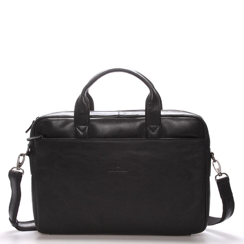 Kožená business taška černá - Hexagona 29478