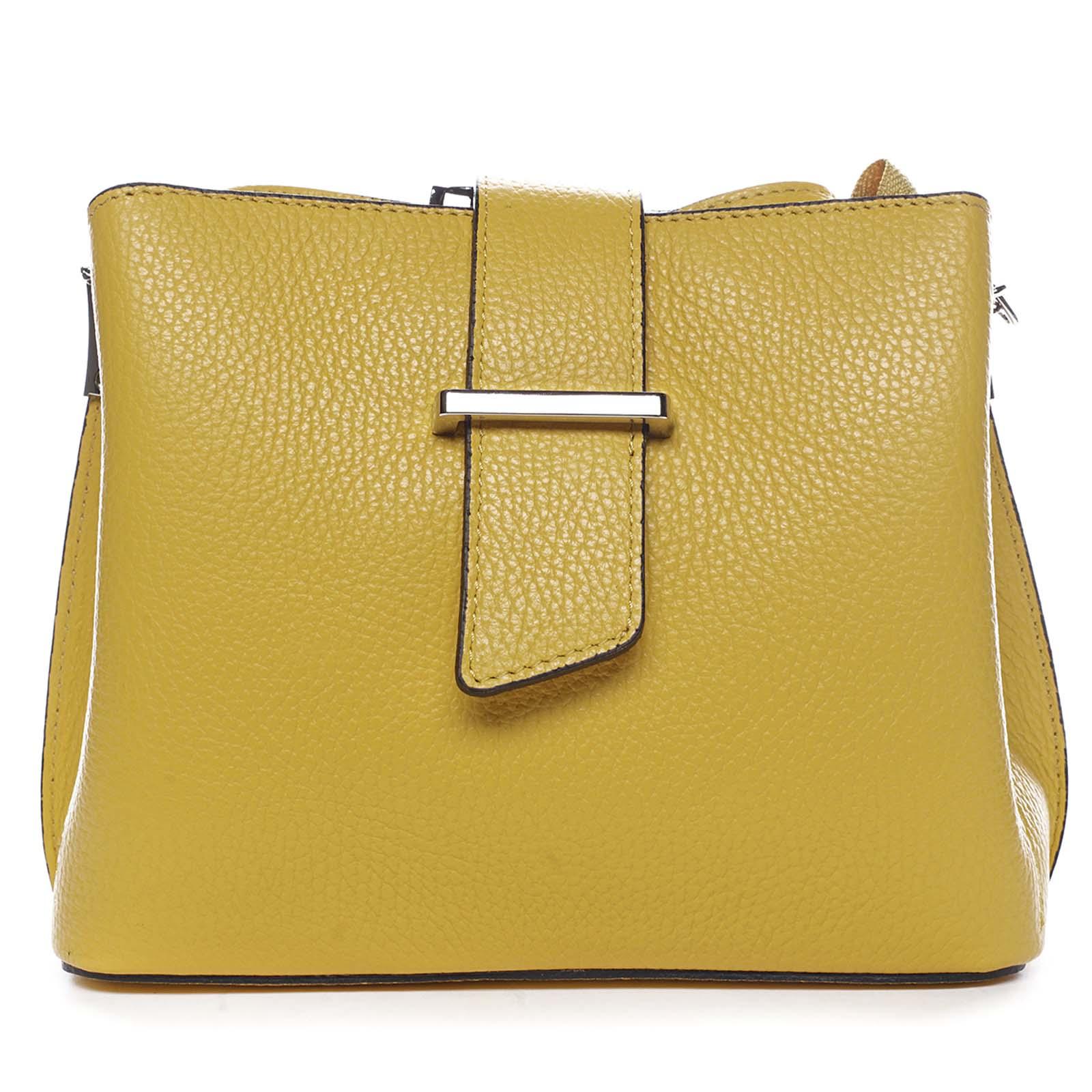 Dámská kožená crossbody kabelka žlutá - ItalY Euren