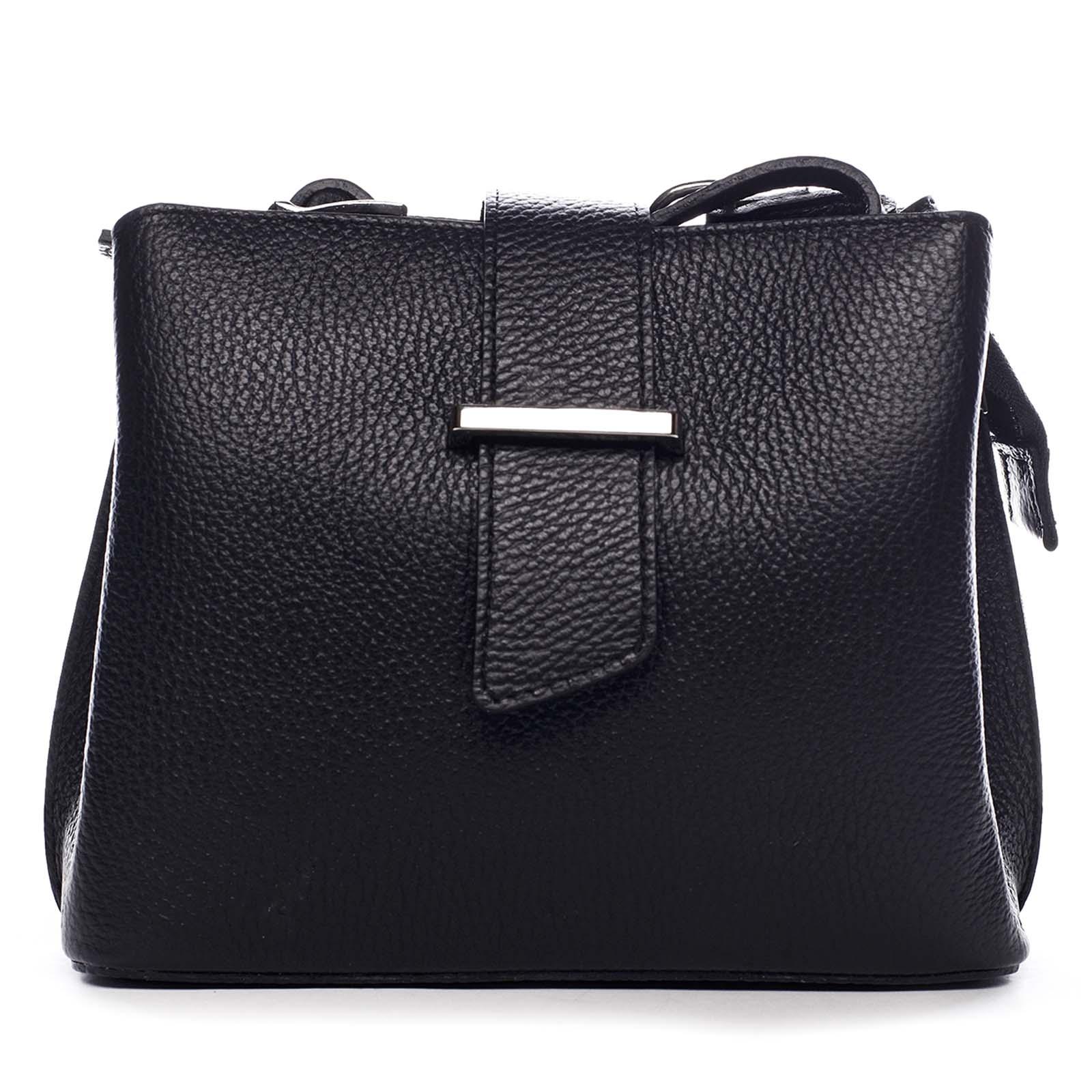 Dámská kožená crossbody kabelka černá - ItalY Euren