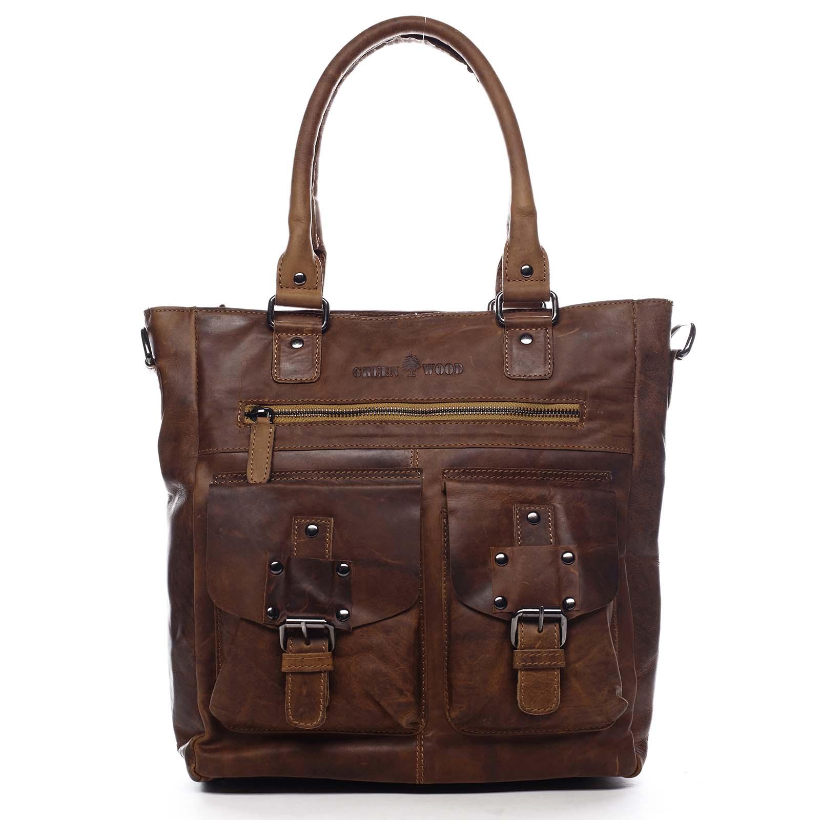 Dámská kožená kabelka přes rameno hnědá - Greenwood Gyraysy