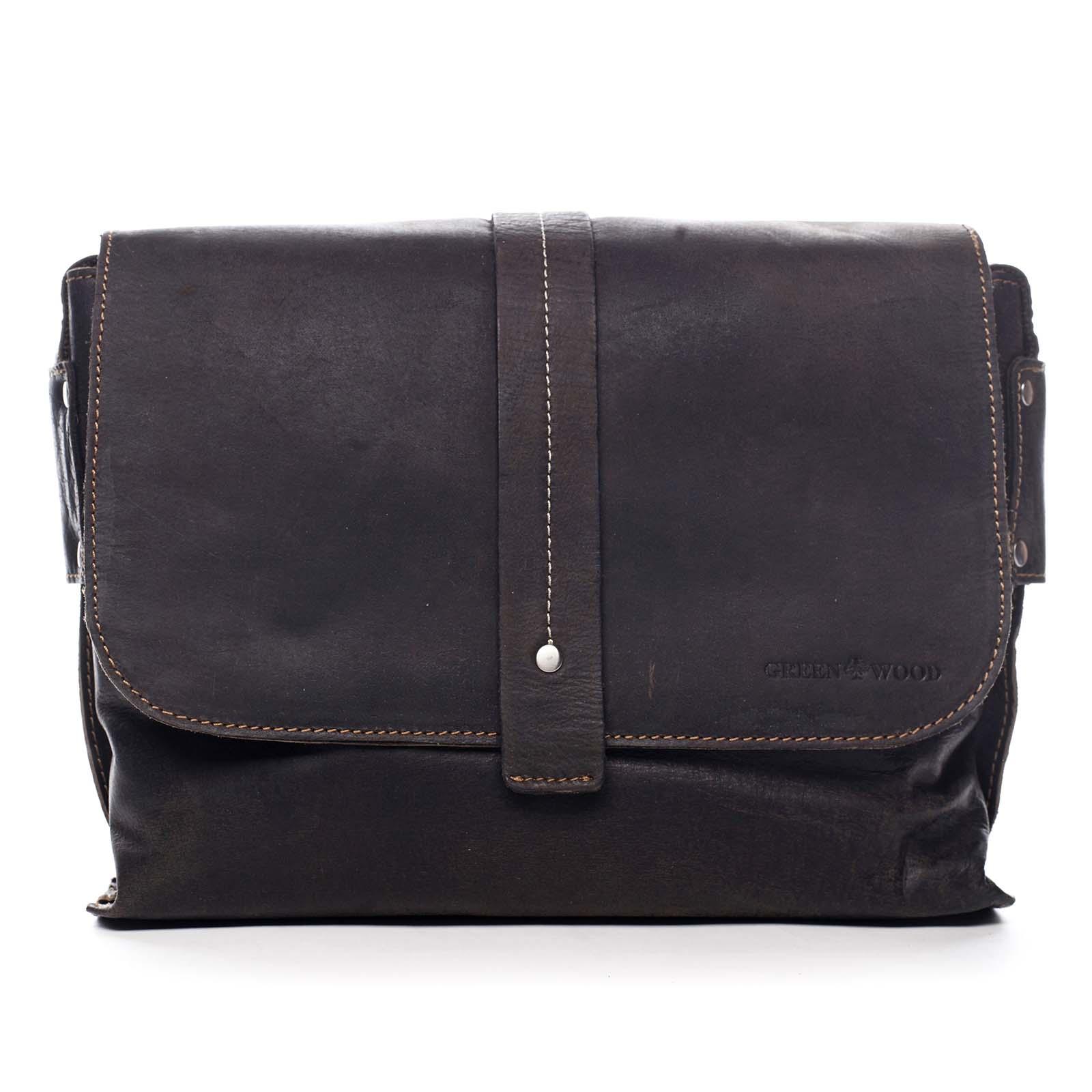 Pánská kožená taška tmavě hnědá - Greenwood Skillet