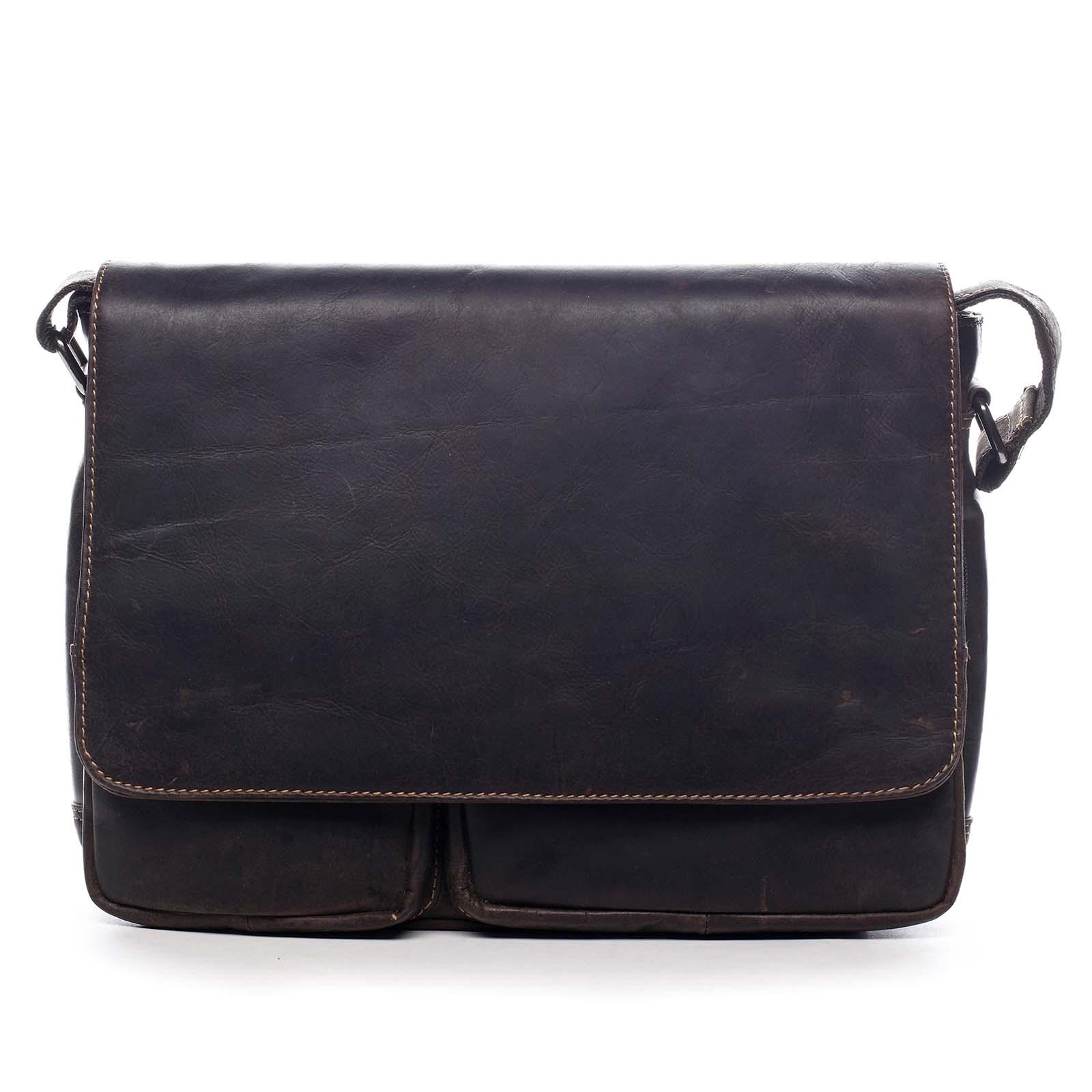 Pánská kožená taška tmavě hnědá - Greenwood Cheat