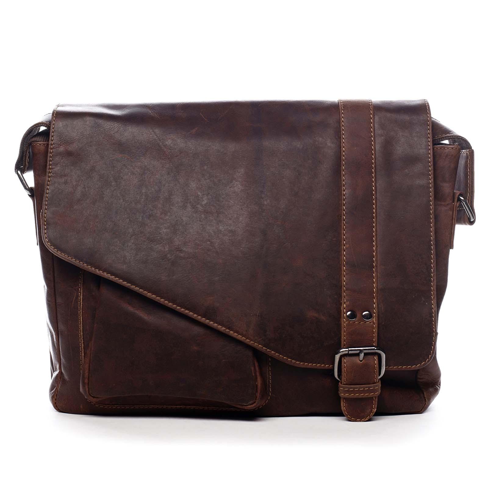Pánská kožená taška přes rameno hnědá - Greenwood Castler