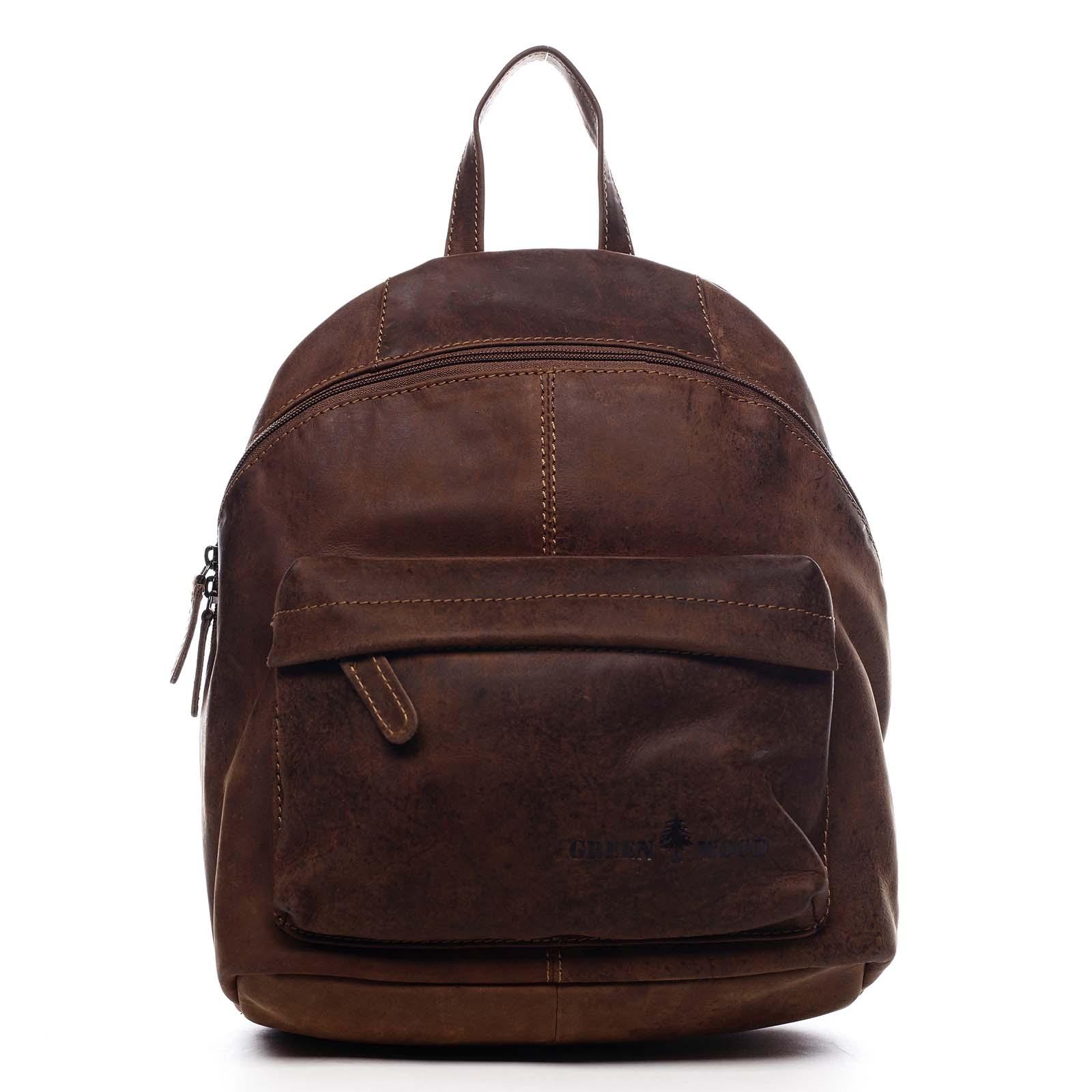 Dámský kožený batoh hnědý - Greenwood Franz