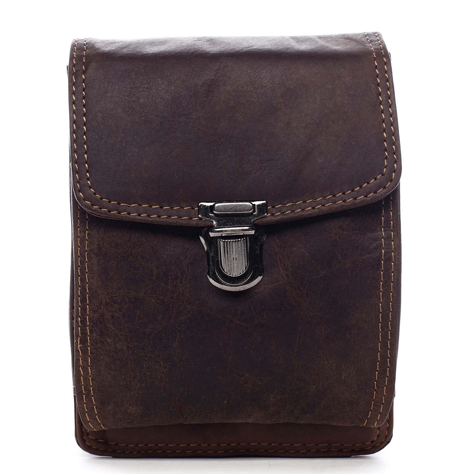 Luxusní pánská kožená kapsa na opasek hnědá - Greenwood Surprise