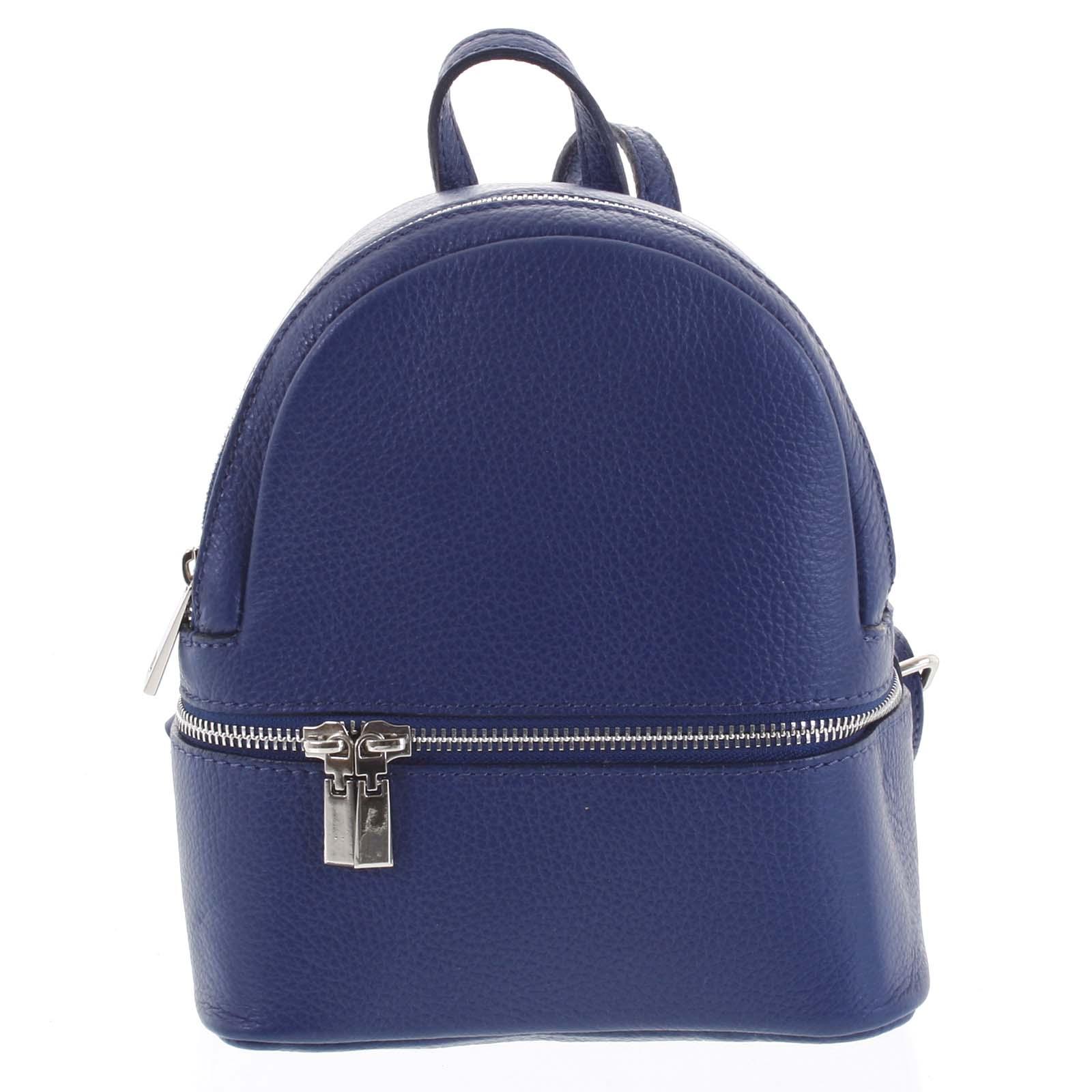 Dámský kožený batůžek tmavě modrý - ItalY Rocme