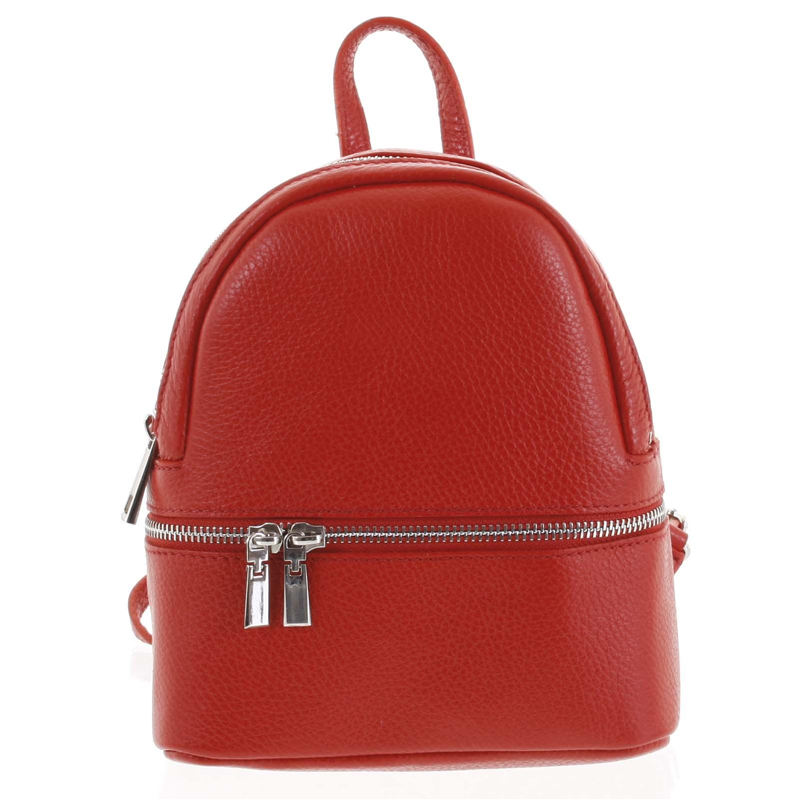 Dámský kožený batůžek červený - ItalY Rocme