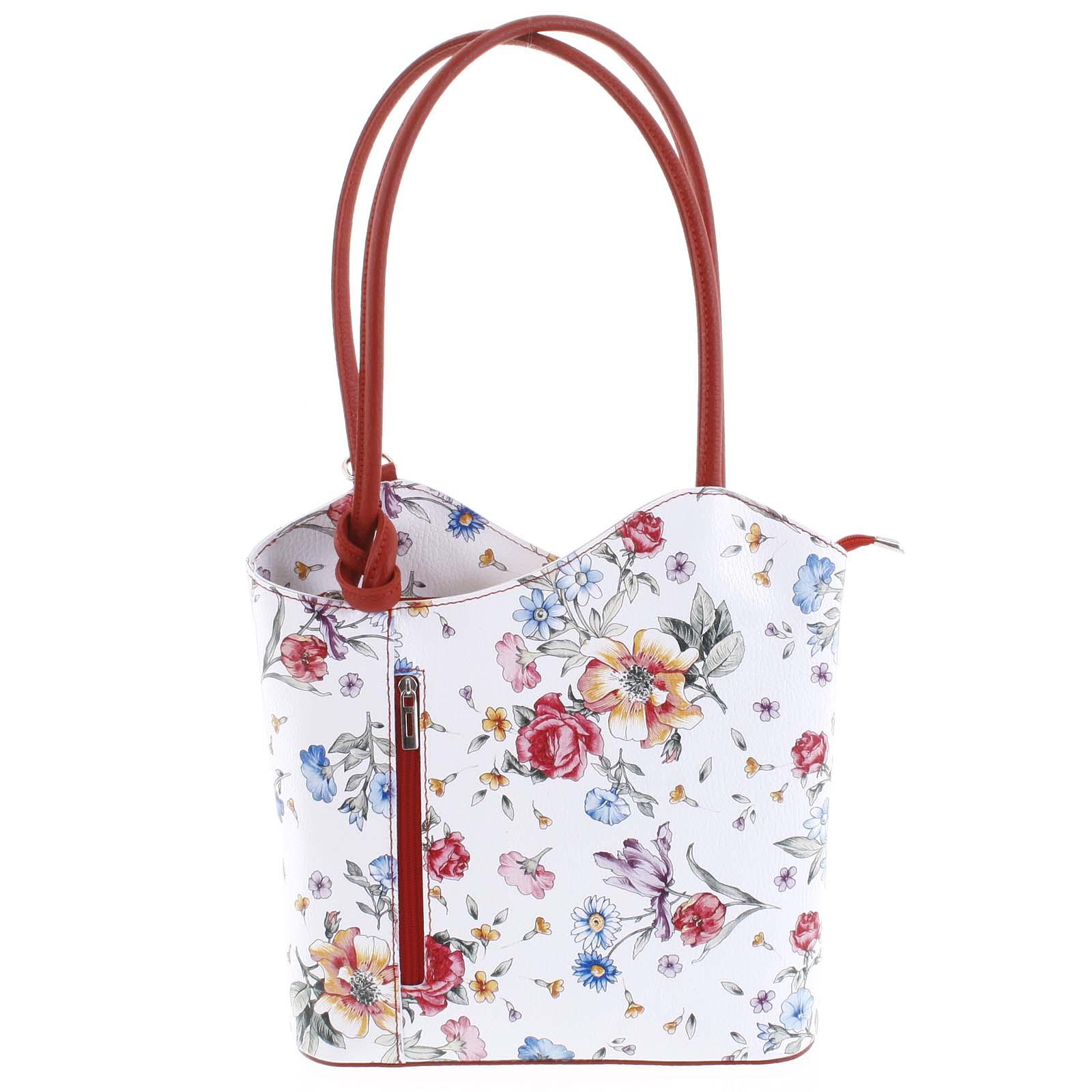 Dámská kožená kabelka batůžek květinová červená - ItalY Larry