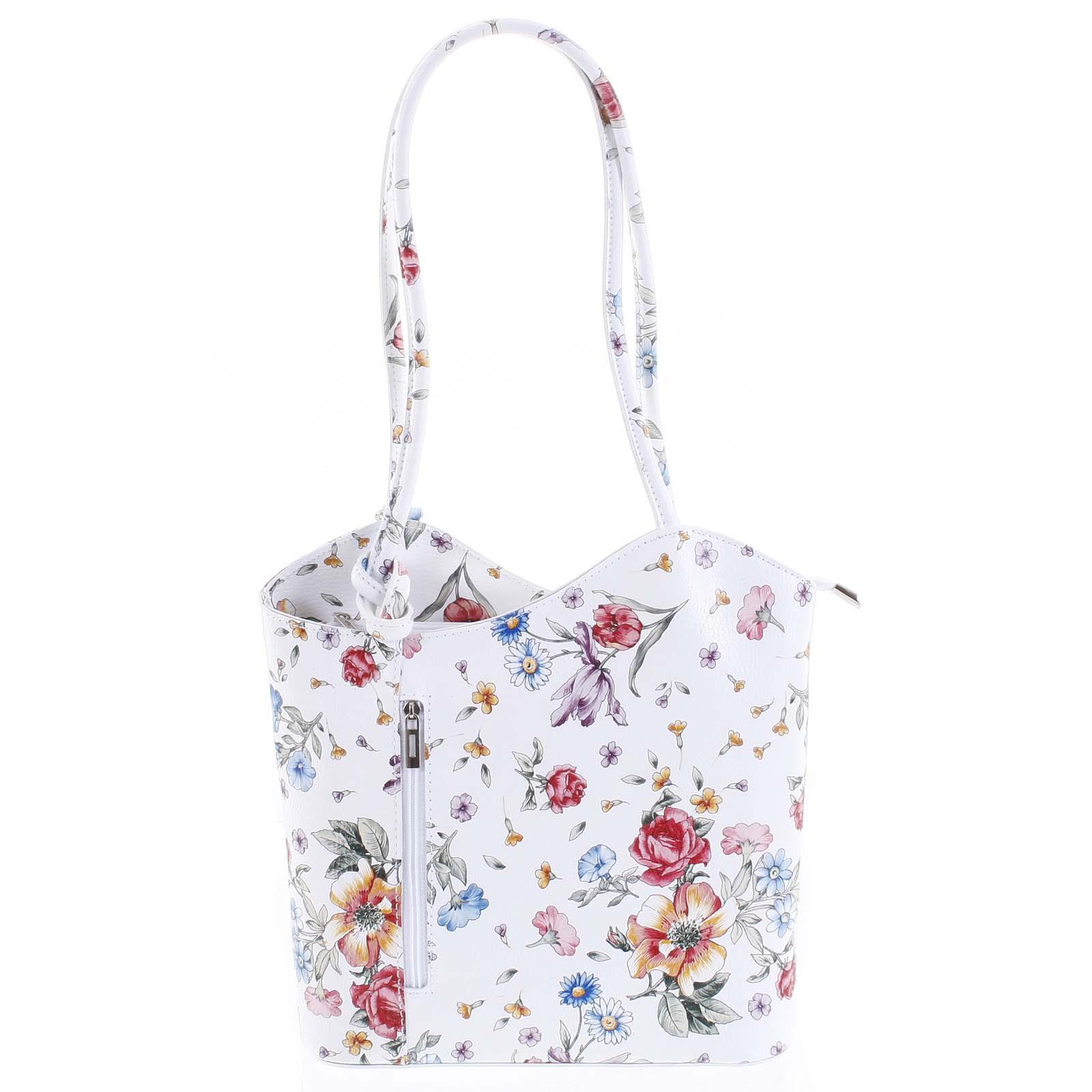 Dámská kožená kabelka batůžek květinová - ItalY Larry