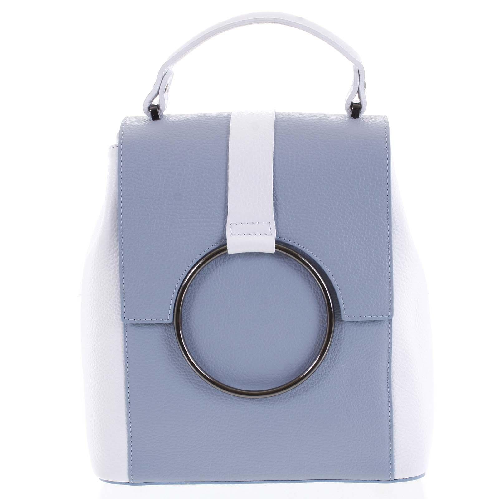 Dámský kožený batůžek kabelka bledě modrý - ItalY Vaiamos