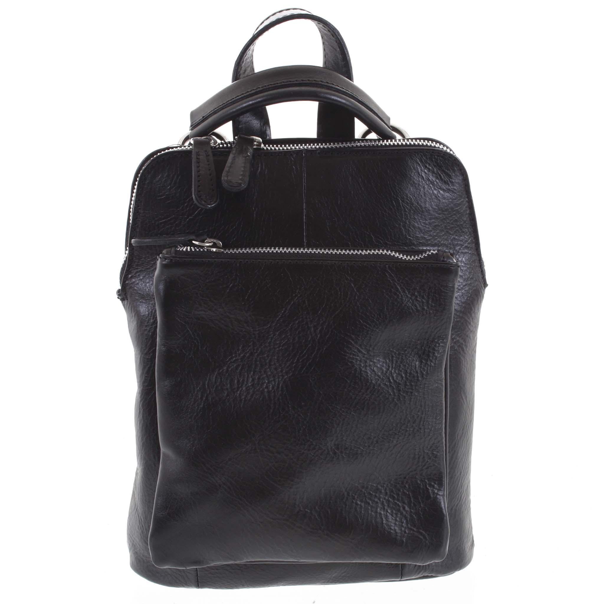 Dámský kožený batůžek kabelka černý - ItalY Englis