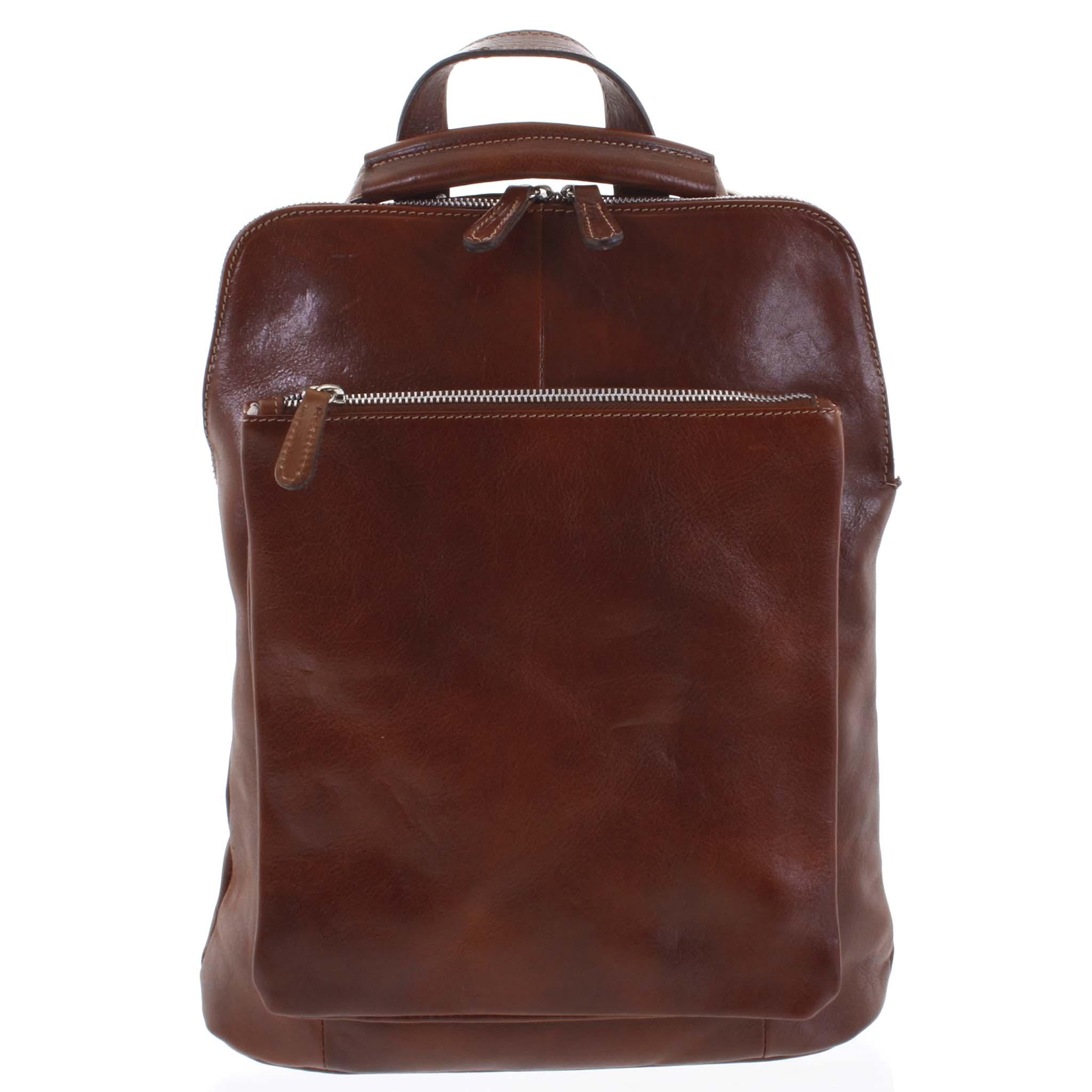 Dámský kožený batoh kabelka hnědý - ItalY Englidis