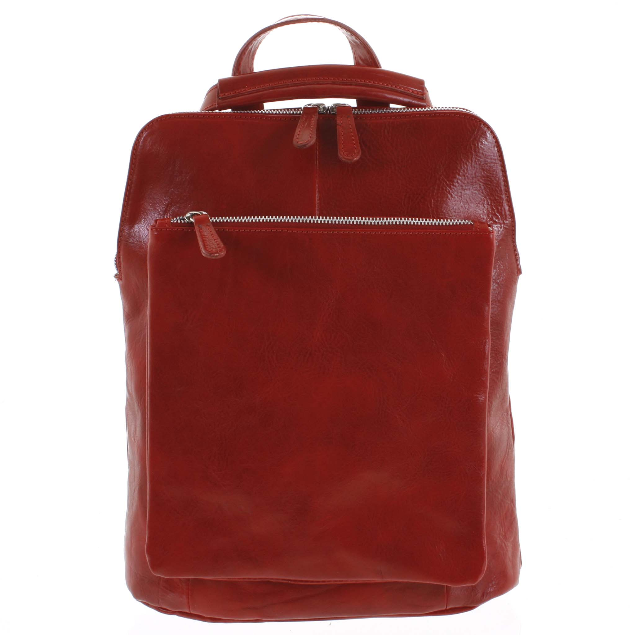 Dámský kožený batoh kabelka červený - ItalY Englidis