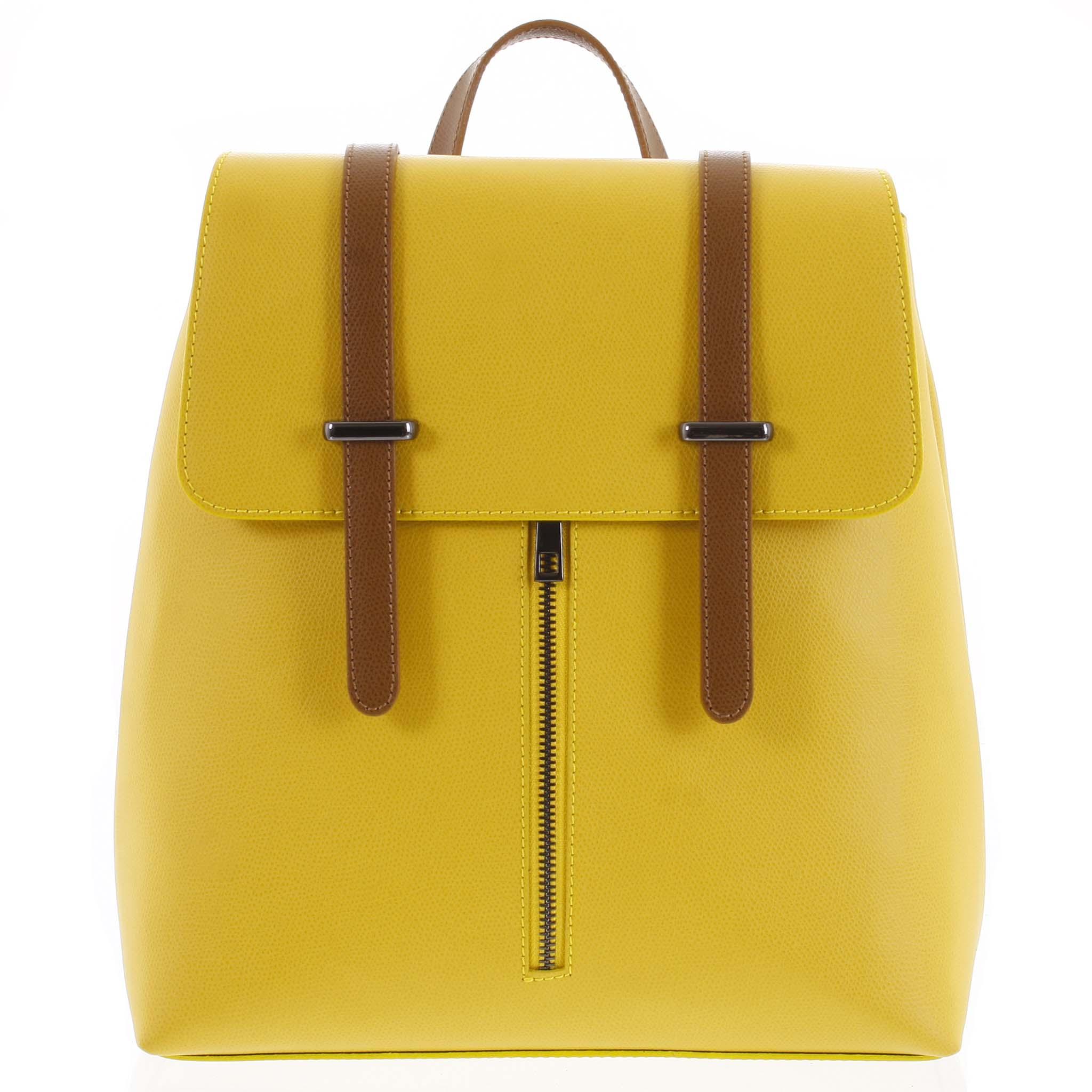 Dámský kožený batoh žluto hnědý - ItalY Waterfall