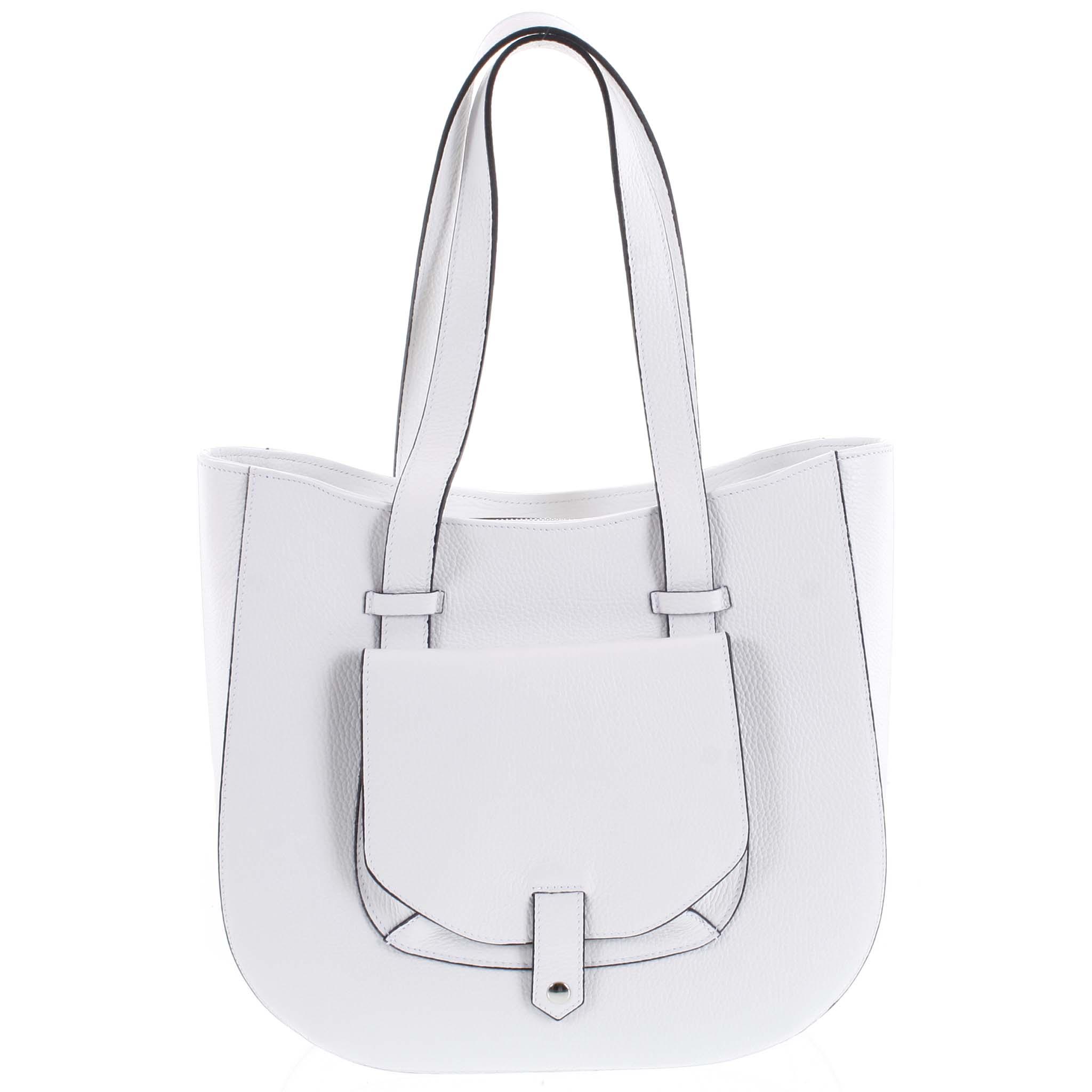 Dámská kožená kabelka přes rameno bílá - ItalY Normani