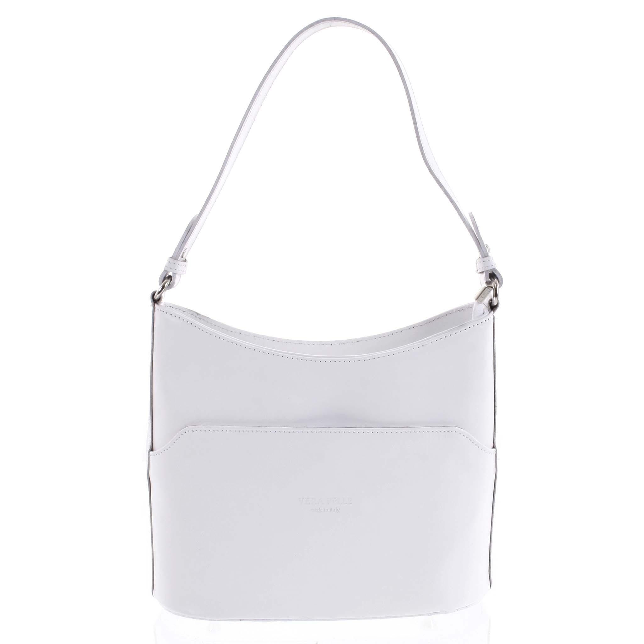 Bílá kožená kabelka přes rameno - ItalY Lydia