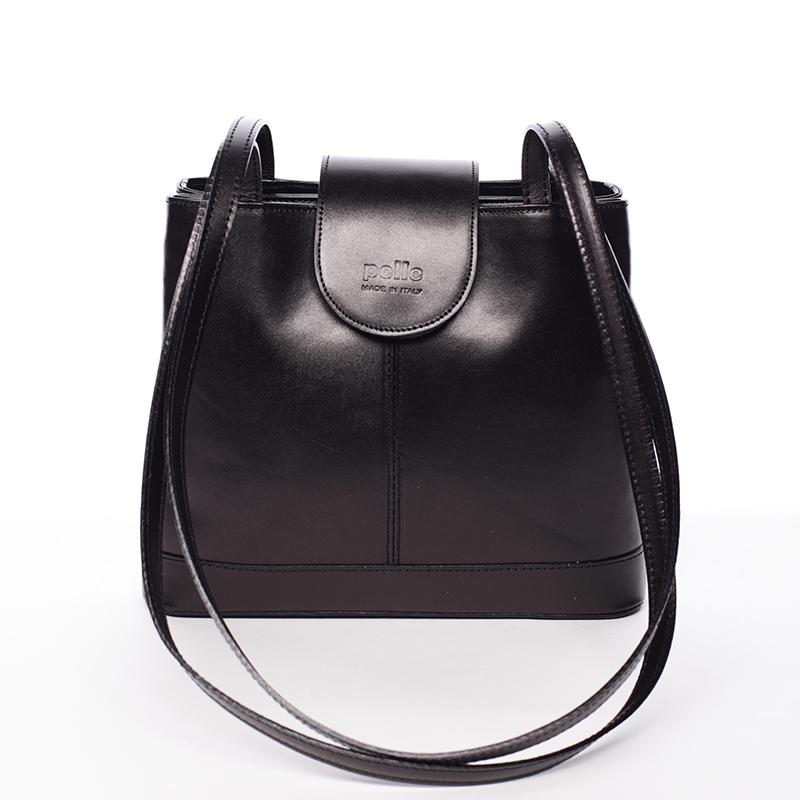 Kožená dámská černá kabelka pře srameno - ItalY Zenna