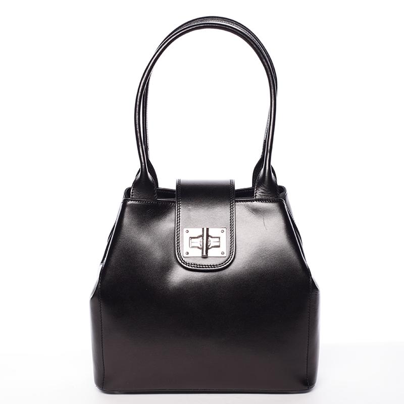 Menší módní dámská černá kožená kabelka přes rameno - ItalY Zerro