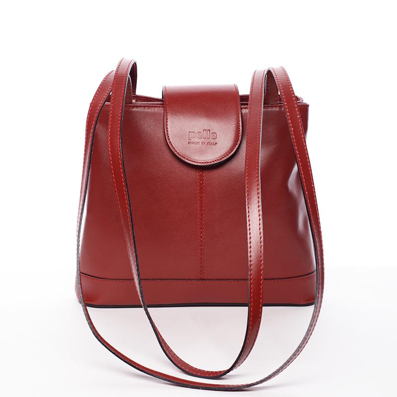 Kožená dámská červená kabelka přes rameno - ItalY Zenna