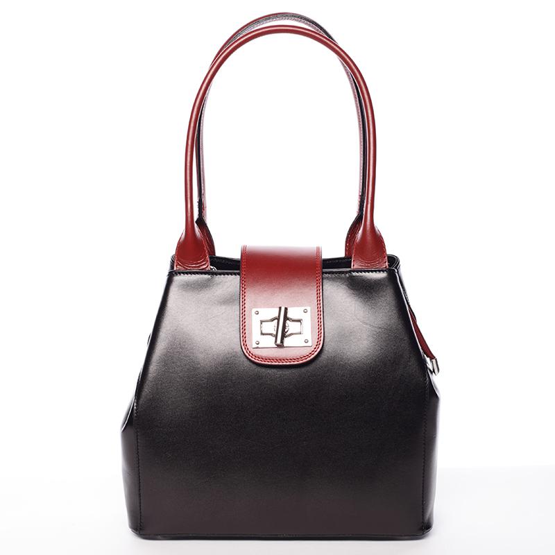 Menší módní dámská černo červená kožená kabelka přes rameno - ItalY Zerro