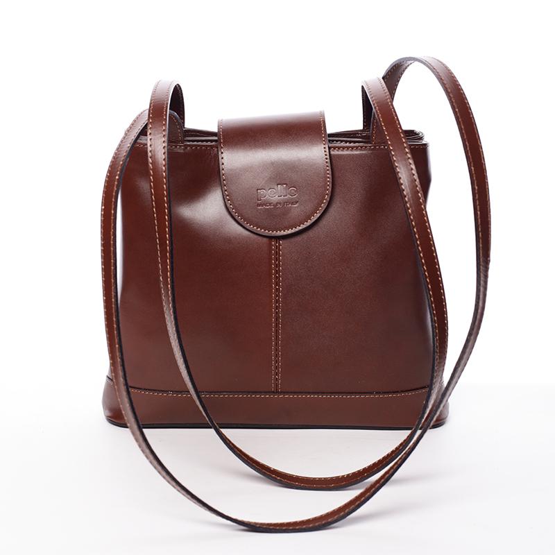 Kožená dámská hnědá kabelka přes rameno - ItalY Zenna