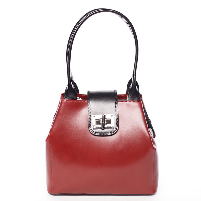 Menší módní dámská červeno černá kožená kabelka přes rameno - ItalY Zerro