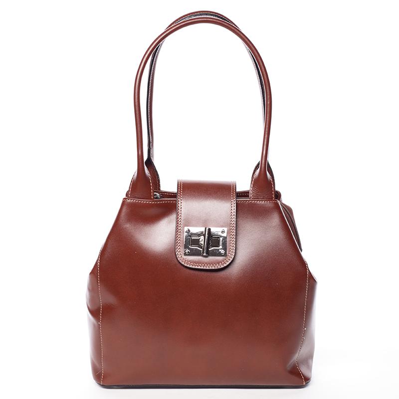 Menší módní dámská hnědá kožená kabelka přes rameno - ItalY Zerro