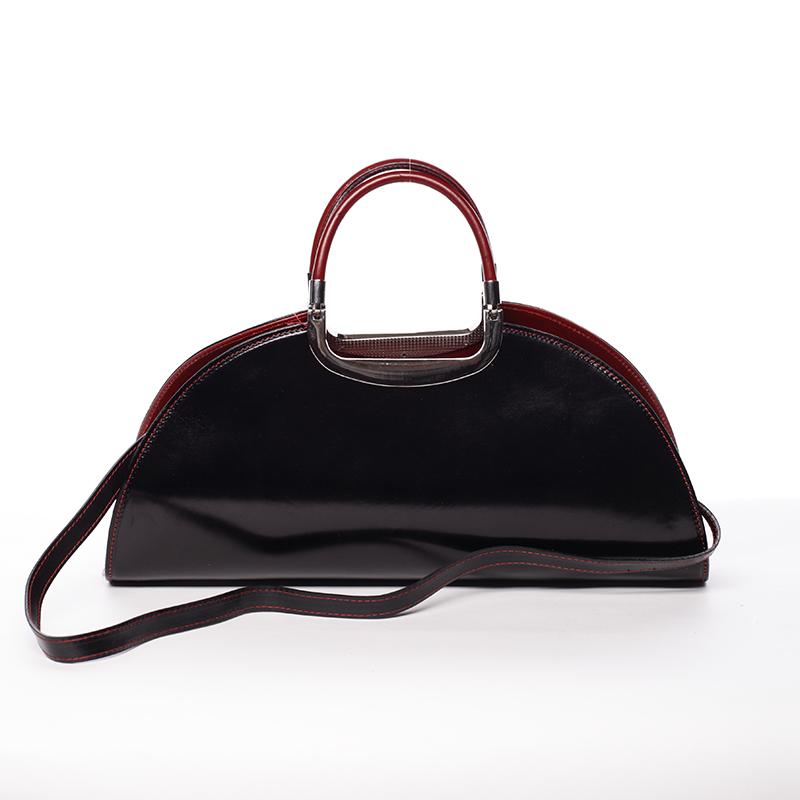 Dámská oválná černo červená kožená společenská kabelka - ItalY Yevgeny