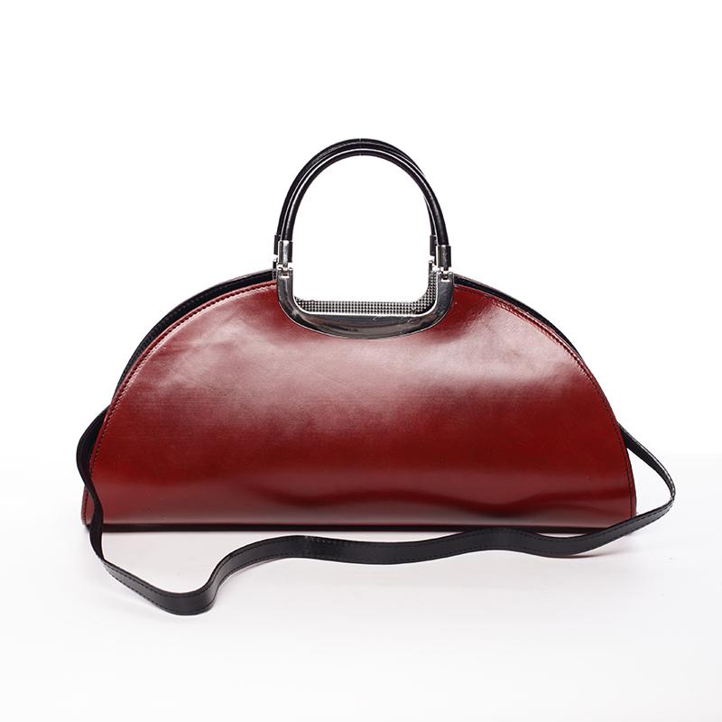 Dámská oválná červeno černá kožená společenská kabelka - ItalY Yevgeny